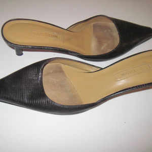 ANN TAYLOR Black Leather Mules Slip-On Shoes 9.5M